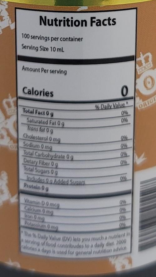 orlando vanilla 500ml nutrimental information